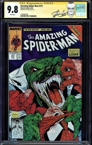 Amazing Spider-man #313 Cgc 9.8 White Ss Stan Lee Highest Cgc Graded #1182933020