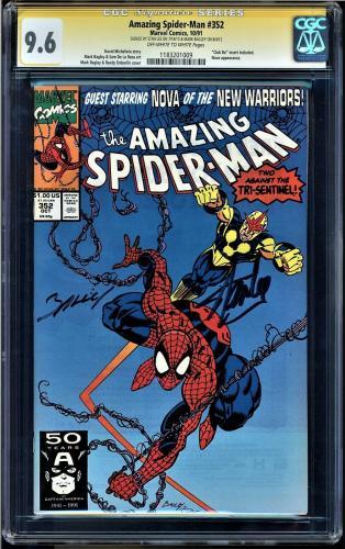 AMAZING SPIDER-MAN #352 CGC 9.6 SS  2 x STAN LEE  & MARK BAGLEY #1183201009