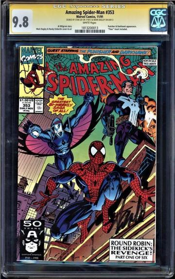 Amazing Spider-man #353 Cgc 9.8 W Ss Stan Lee & Mark Bagley Signed  #1813200013