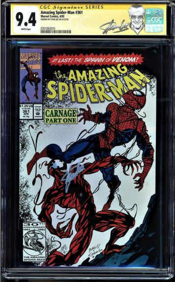 Amazing Spider-man #361 Cgc 9.4 White Ss Stan Lee 1st Full Carnage #0351062010