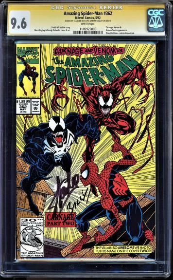 AMAZING SPIDER-MAN #362 CGC 9.6 SS 2 x STAN LEE  & MARK BAGLEY #1189925003 mms