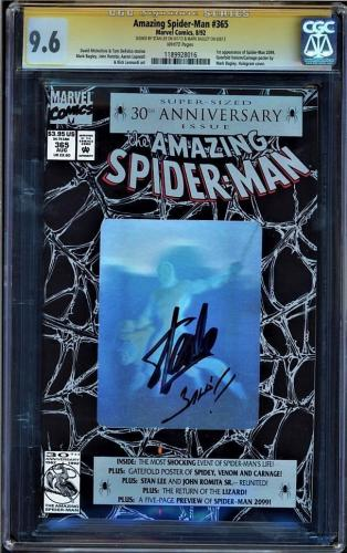 Amazing Spider-man #365 Cgc 9.6 White Ss Stan Lee & Mark Bagley Cgc #1189928016
