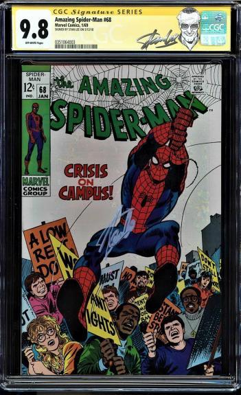 Amazing Spider-man #68 Cgc 9.8 Ss Stan Lee Single Highest Graded Cgc #0351064003