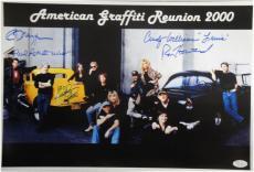 American Graffiti Signed 12x18 Photo Dreyfuss Ron Howard Paul Le mat JSA S37740