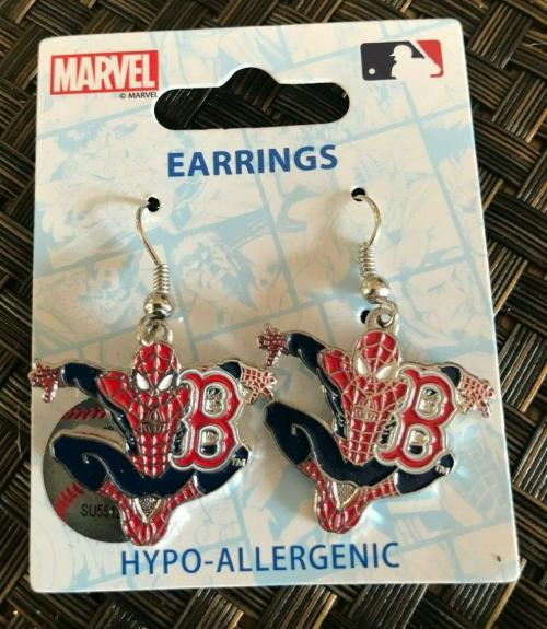 Aminco Mlb Baseball Boston Red Sox Spiderman Marvel Earrings New /le L@@k