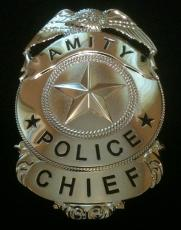 Amity Chief of Police Martin Brody Jaws Prop Replica Badge! *ALL Nickel Edition*