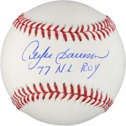 Andre Dawson Autographed Baseball with 77 NL ROY Inscription - Mounted Memories