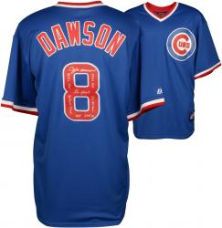 Andre Dawson Chicago Cubs Autographed Cooperstown Collection Blue Jersey  with Multiple Inscriptions-#1 of a Limited Edition of 24 - Mounted Memories