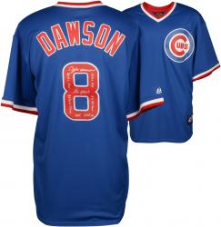 Andre Dawson Chicago Cubs Autographed Cooperstown Collection Blue Jersey  with Multiple Inscriptions-#2-23 of a Limited Edition of 24