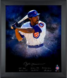 Andre Dawson Chicago Cubs Framed Autographed 20'' x 24'' In Focus Photograph with Multiple Inscriptions-#24 of a Limited Edition of 24 - Mounted Memories