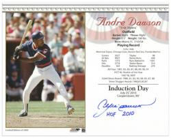 Andre Dawson Chicago Cubs Official HOF Induction Day Autographed 8'' x 10'' Photograph with ''HOF 2010'' Inscription - Mounted Memories