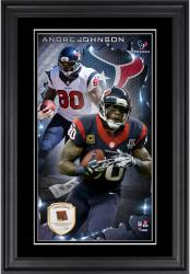 Andre Johnson Houston Texans 10'' x 18'' Vertical Framed Photograph with Piece of Game-Used Football - Limited Edition of 250
