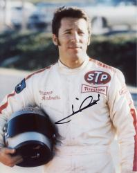 Mario Andretti Indy Car Autographed 8'' x 10'' Holding Helmet Photograph
