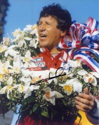 Mario Andretti Indy Car Autographed 8'' x 10'' With Flowers Photograph