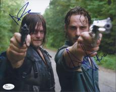 Andrew Licoln & Norman Reedus Signed 'walking Dead' 8x10 Photo Autograph Jsa Coa