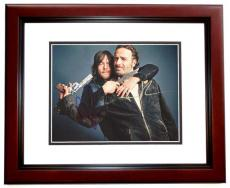 Andrew Lincoln and Norman Reedus Signed - Autographed The Walking Dead 11x14 inch Photo MAHOGANY CUSTOM FRAME - Guaranteed to pass PSA or JSA