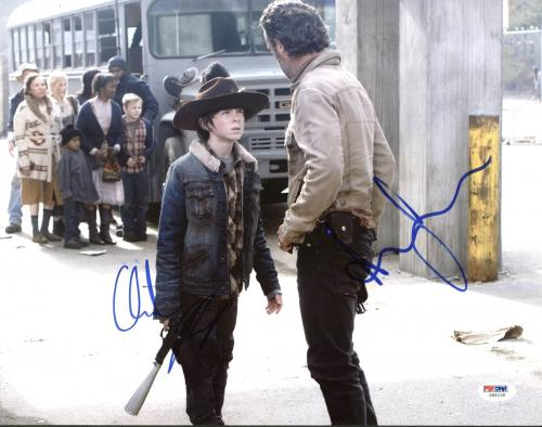 Andrew Lincoln & Chandler Riggs The Walking Dead Signed 11X14 Photo PSA #Z89208