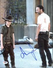 Andrew Lincoln & Chandler Riggs The Walking Dead Signed 11X14 Photo PSA #Z89212