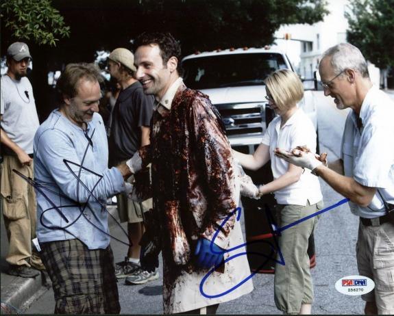Andrew Lincoln & Greg Nicotero The Walking Dead Signed 8X10 Photo PSA #Z56270