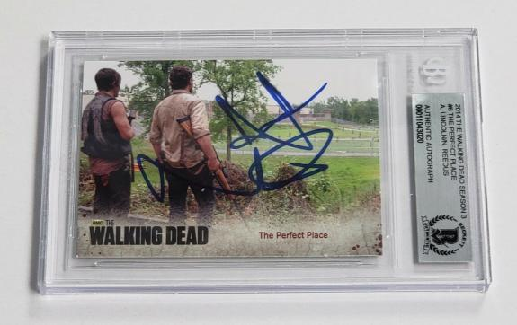 Andrew Lincoln Norman Reedus Auto'd 2014 The Walking Dead Card #6 Bas Coa Daryl