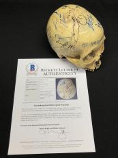 Andrew Lincoln Robert Kirkman Steven Yeun Signed Walking Dead Skull Prop BAS