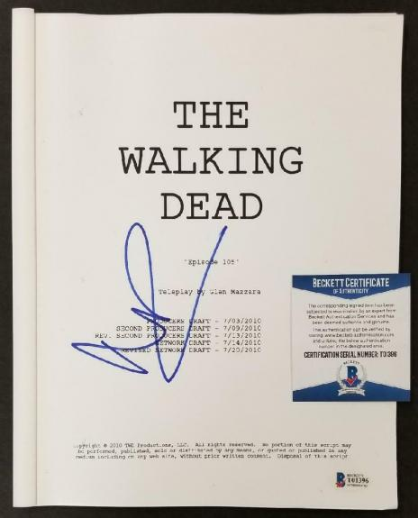 Andrew Lincoln signed The Walking Dead Episode 105 Script Rick Auto (A)~ BAS COA