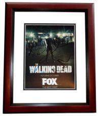 Andrew Lincoln, Steve Yeun, Lauren Cohan, and Norman Reedus Signed - Autographed The Walking Dead TWD 8x10 Photo MAHOGANY CUSTOM FRAME
