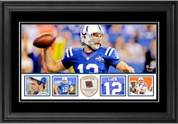 "Andrew Luck Indianapolis Colts Framed 10"" x 18""  Panoramic with Piece of Game-Used Football - Limited Edition of 250"