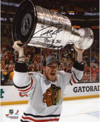 """Andrew Shaw Chicago Blackhawks 2013 Stanley Cup Champions Autographed 8"""" x 10"""" Vertical Smile with Cup Photograph with 2013 SC Champs Inscription"""