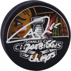 Andrew Shaw Chicago Blackhawks 2013 Stanley Cup Champions Autographed Stanley Cup Logo Puck with 2013 SC Champs Inscription - Mounted Memories