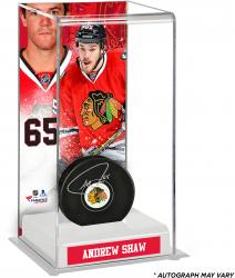 Andrew Shaw Chicago Blackhawks Autographed Puck with Deluxe Tall Hockey Puck Case