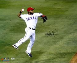 Elvis Andrus Texas Rangers Autographed 16'' x 20'' Jump Throw In Air Photograph - Mounted Memories