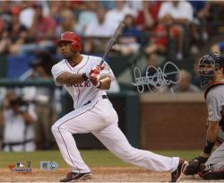 Elvis Andrus Texas Rangers Autographed 8'' x 10'' Catcher Watch Photograph - Mounted Memories
