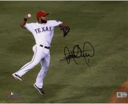 """Elvis Andrus Texas Rangers Autographed 8"""" x 10"""" Jump Throw In Air Photograph"""
