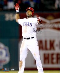 Elvis Andrus Texas Rangers Autographed 16'' x 20'' Hands Up Standing Photograph - Mounted Memories