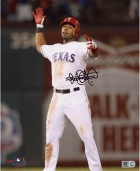 Elvis Andrus Texas Rangers Autographed 8'' x 10'' Hands Up Standing Photograph - Mounted Memories
