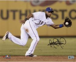 Elvis Andrus Texas Rangers Autographed 8'' x 10'' Fielding Ball Photograph - Mounted Memories