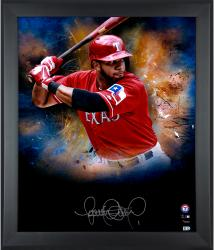 Elvis Andrus Texas Rangers Framed Autographed 20'' x 24'' In Focus Photograph-#2-24 of a Limited Edition of 25 - Mounted Memories