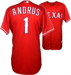 Elvis Andrus Texas Rangers 5/9/14 vs. Boston Red Sox Game-Used Red Jersey #1