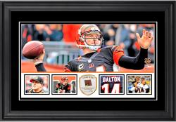"Andy Dalton Cincinnati Bengals Framed 10"" x 18""  Panoramic with Piece of Game-Used Football - Limited Edition of 250"