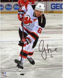 "Andy Greene New Jersey Devils Autographed White Jersey Shooting 8"" x 10"" Photograph"