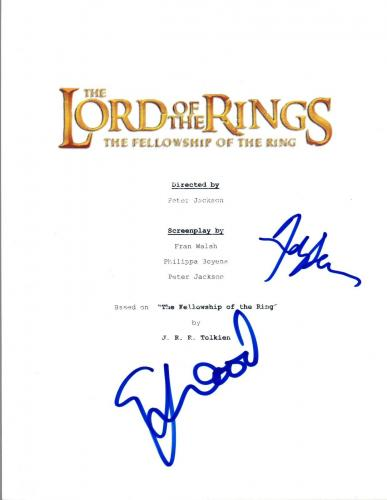 Andy Serkis & Elijah Wood Signed THE LORD OF THE RINGS Movie Script COA VD