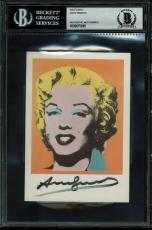Andy Warhol Signed 4x6 Gold Marilyn Monroe Postcard BAS Slabbed