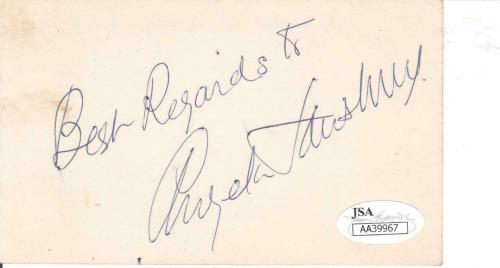 ANGELA LANSBURY Signed Best 3X5 Index Card Actress/Murder She Wrote JSA AA39967