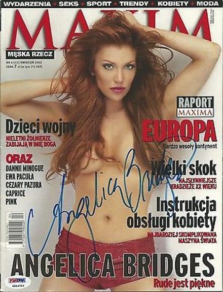 Angelica Bridges Signed 2002 Polish Edition Maxim Magazine PSA/DNA COA Autograph