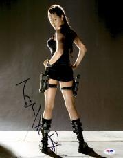 "Angelina Jolie Autographed 11"" x 14"" Tomb Raider Photograph - PSA/DNA"