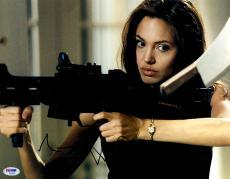"Angelina Jolie Autographed 11"" x 14"" with Gun Photograph - PSA/DNA"
