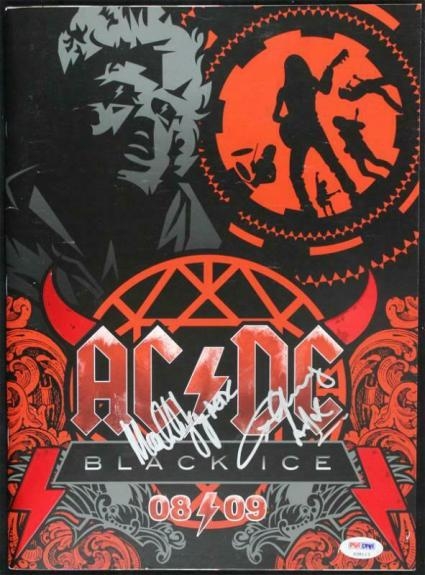 Angus & Malcolm Young Signed 9.5X13 Black Ice 08/09 Program PSA/DNA #S38113