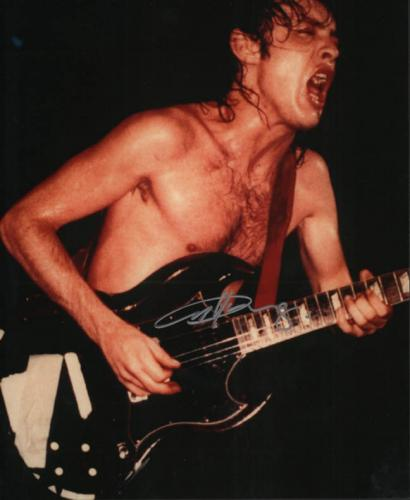 Angus Young Ac/Dc Autographed Signed 11x14 Crazy Photo AFTAL