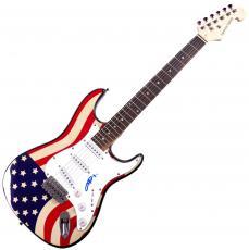 Angus Young ACDC Autographed Signed USA Flag Guitar UACC RD COA AFTAL
